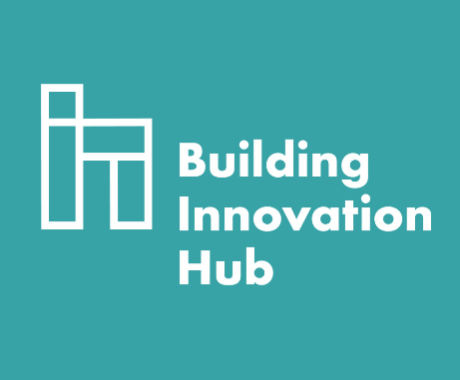 Building innovation hub logo against blue background