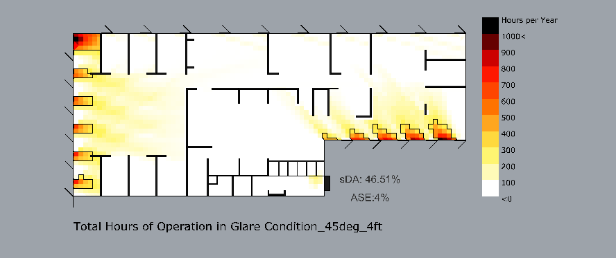 Sample Rhino daylighting study using Grasshopper and Ladybug showing total hours of operation in glare conditions.